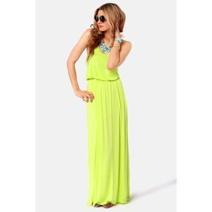 Lush Neon Yellow Smocked Maxi Dress